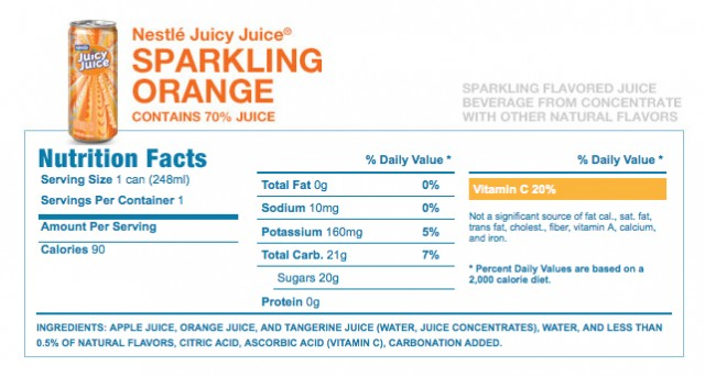 Juicy Juice Sparkling Nutrition