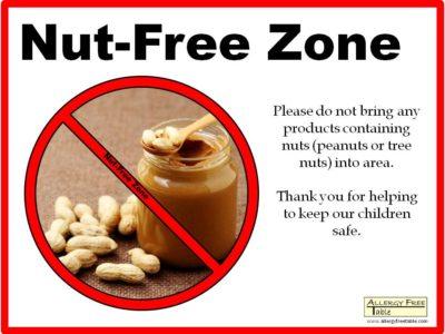 Tree Nut Allergy Sign